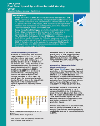 Food Security and Agriculture Situation Update January - April 2016